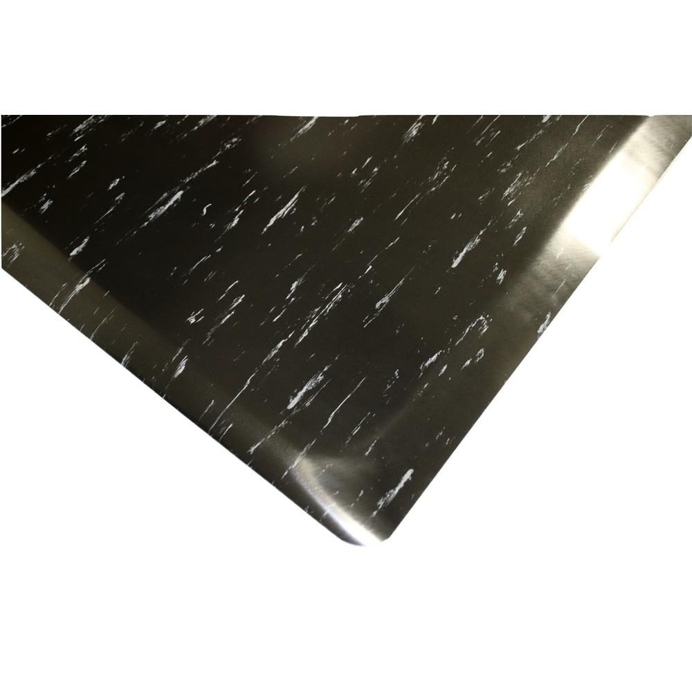 Marbleized Tile Top Anti Fatigue Mat 4 Ft X 8 1 2 In Black White Commercial