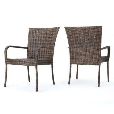 Littleton  Mixed Mocha Stackable Wicker Outdoor Dining Chairs (Set of 2)