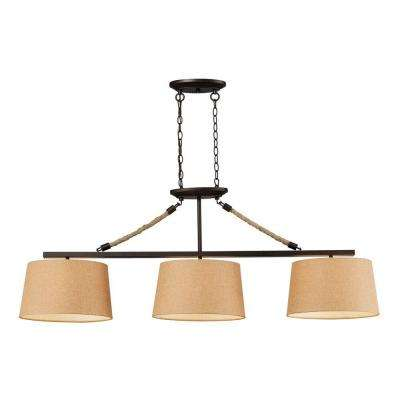 Natural Rope 3-Light Aged Bronze Billiard Light With Tan Linen Shades