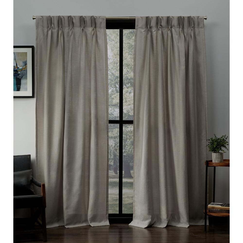 Loha Beige Linen Pinch Pleat Top Curtain - 27 in. W x 96 in. L
