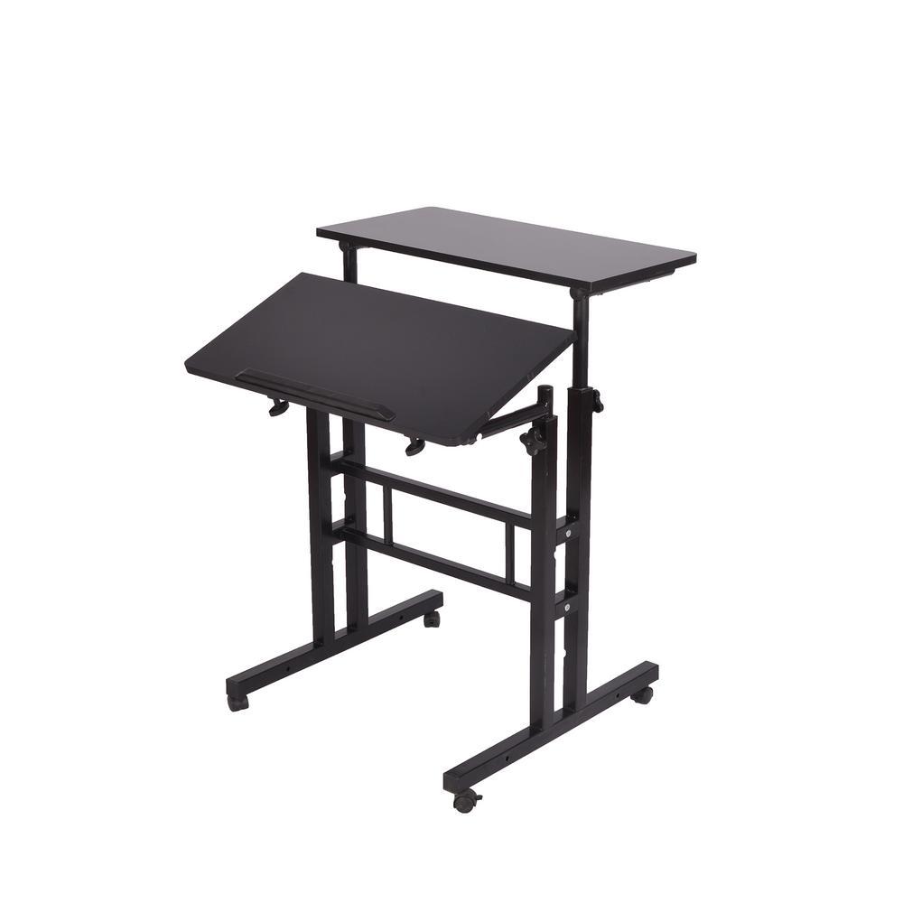 Mind Reader 2-Tier Black Standing Desk Roller