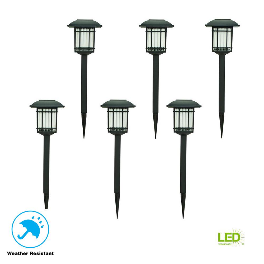 Solar Black Outdoor Integrated LED 3000K 6-Lumens Landscape Pathway Light