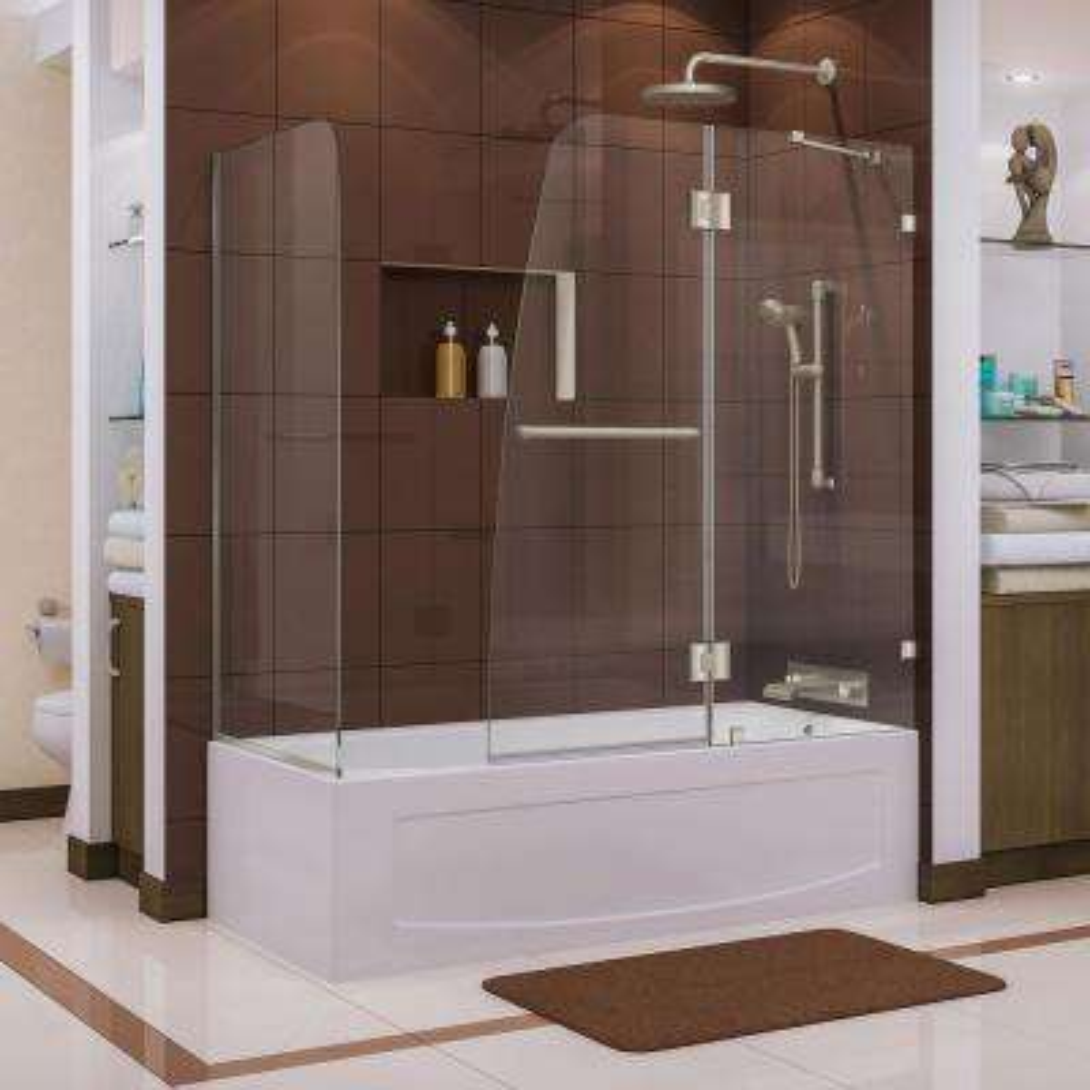 Aqua Lux 56 to 60 in. x 58 in. Semi-Framed Hinged Tub Door in Brushed Nickel