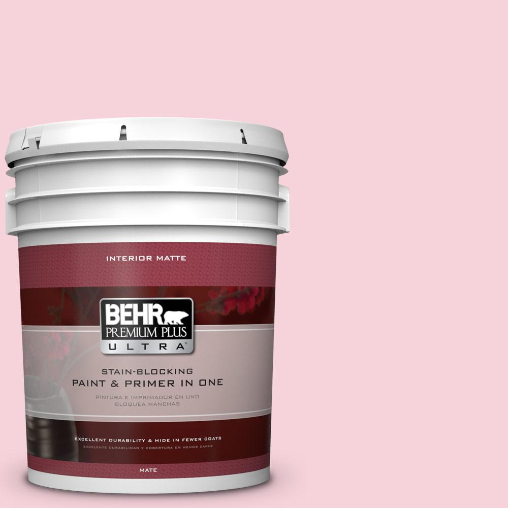 BEHR Premium Plus Ultra 5 gal. #110C-1 Petal Bloom Flat/Matte Interior Paint