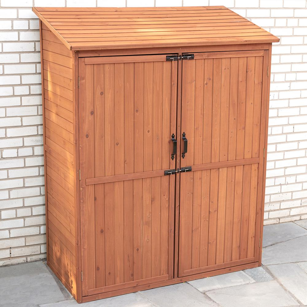 Leisure Season 59 in. W x 29 in. D x 72 in. H Medium Brown Cypress Storage Shed with Pull Out Crates