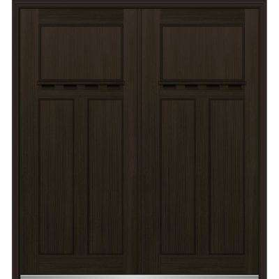72 in. x 80 in. Classic Right-Hand Inswing Craftsman 3-Panel Stained Fiberglass Fir Prehung Front Door with Brickmould