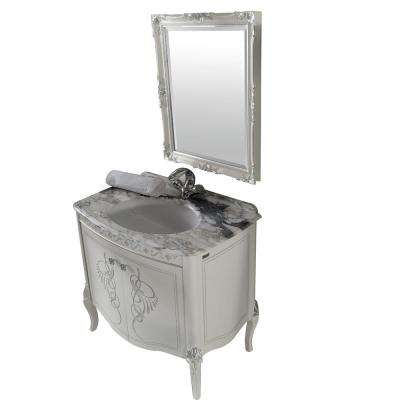 Heritage 32 in. W x 22 in. D Vanity in Silver with Solid Oak Wood Vanity Top in Grey with Silver Basin