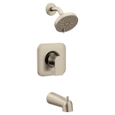 Genta Single-Handle 3-Spray PosiTemp Tub and Shower Faucet in Brushed Nickel (Valve Not Included)