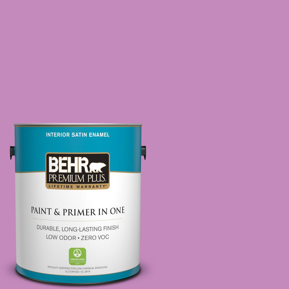 BEHR Premium Plus 1-gal. #P110-4 Rock Star Pink Satin Enamel Interior Paint