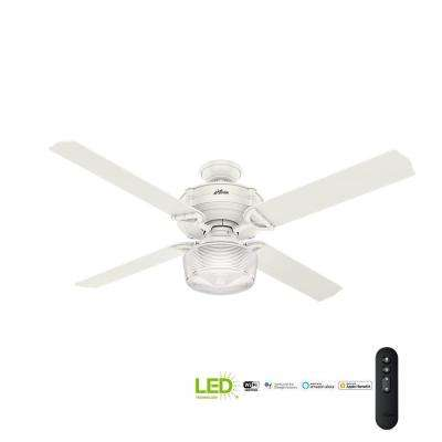 Brunswick 60 in. LED Indoor Fresh White Wi-Fi Enabled Ceiling Fan with Globe Light Kit and Integrated Handheld Remote