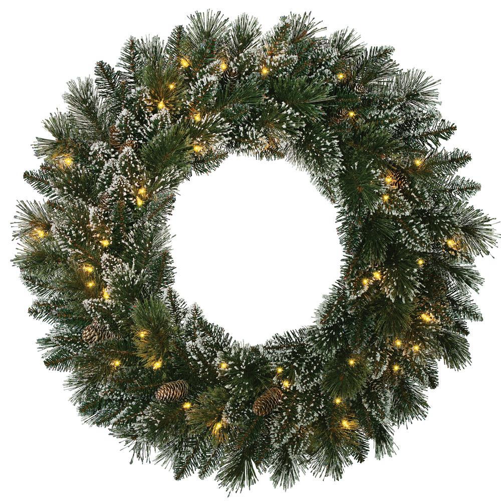 30 in. Pre-Lit Artificial Sparkling Pine Christmas Wreath with 158 Tips