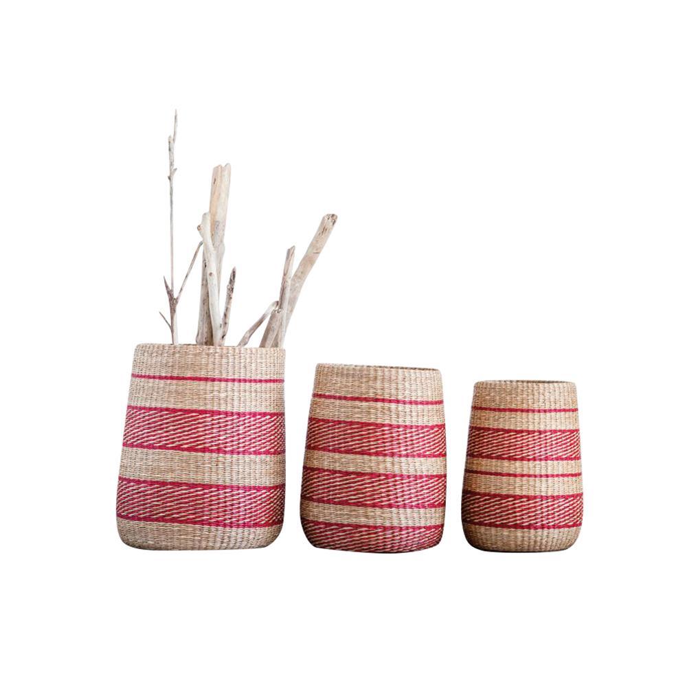 Waterside Round Seagrass Brown/Red Striped Decorative Basket (Set of 3)