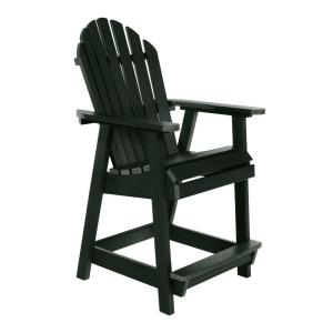 Muskoka Charleston Green with Footrest Plastic Counter-Height Outdoor Dining Chair