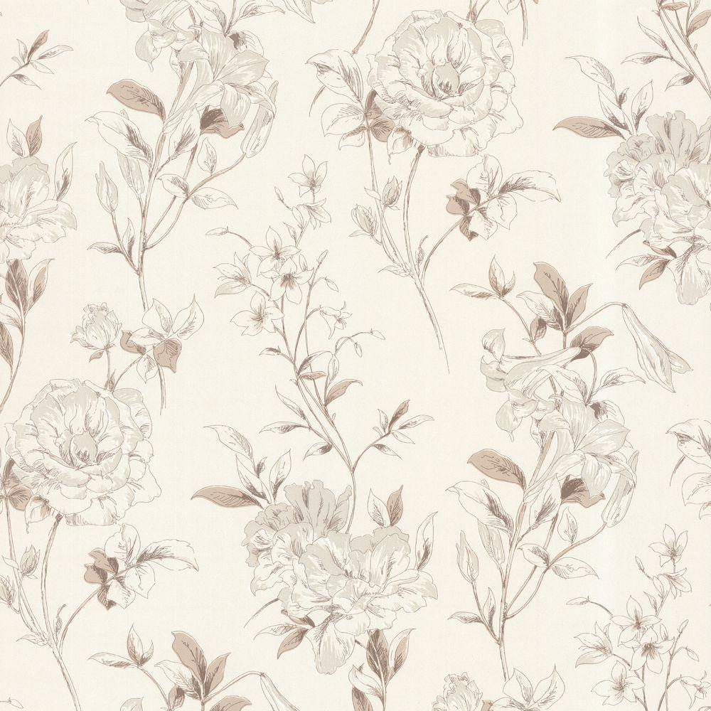 Beacon House Jolie Beige Floral Toss Wallpaper 450 67372