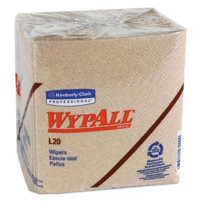 12 1/2 x 13 1/4 Fold L20 Wipers, 2-Ply, Brown, 68/Pack, 12 Packs Per Carton