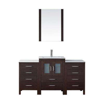 Dior 61 in. W Bath Vanity in Espresso with Ceramic Vanity Top in White with Square Basin and Mirror and Faucet