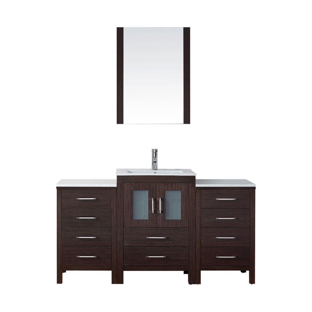 Virtu USA Dior 60 in. W x 18.3 in. D Vanity in Espresso with Ceramic Vanity Top in White with White Basin and Mirror