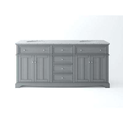 Fremont 72 in. W x 22 in. D Double Vanity in Grey with Granite Vanity Top in Grey with White Basin