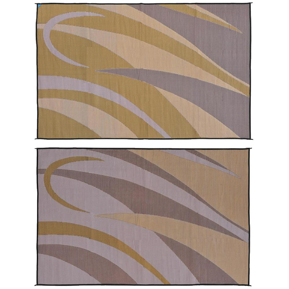 Ming's Mark 8 ft. x 16 ft. Graphic Brown/Gold Reversible Mat