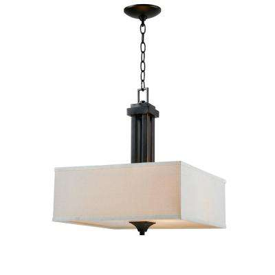 Mattock 3 Light Oil Rubbed Bronze Square Drum Pendant Manor Brook