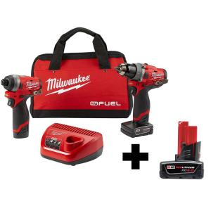 Milwaukee M12 FUEL 12-Volt Li-Ion Brushless Cordless Hammer Drill and Impact Driver Combo Kit + 6.0Ah Battery Pack