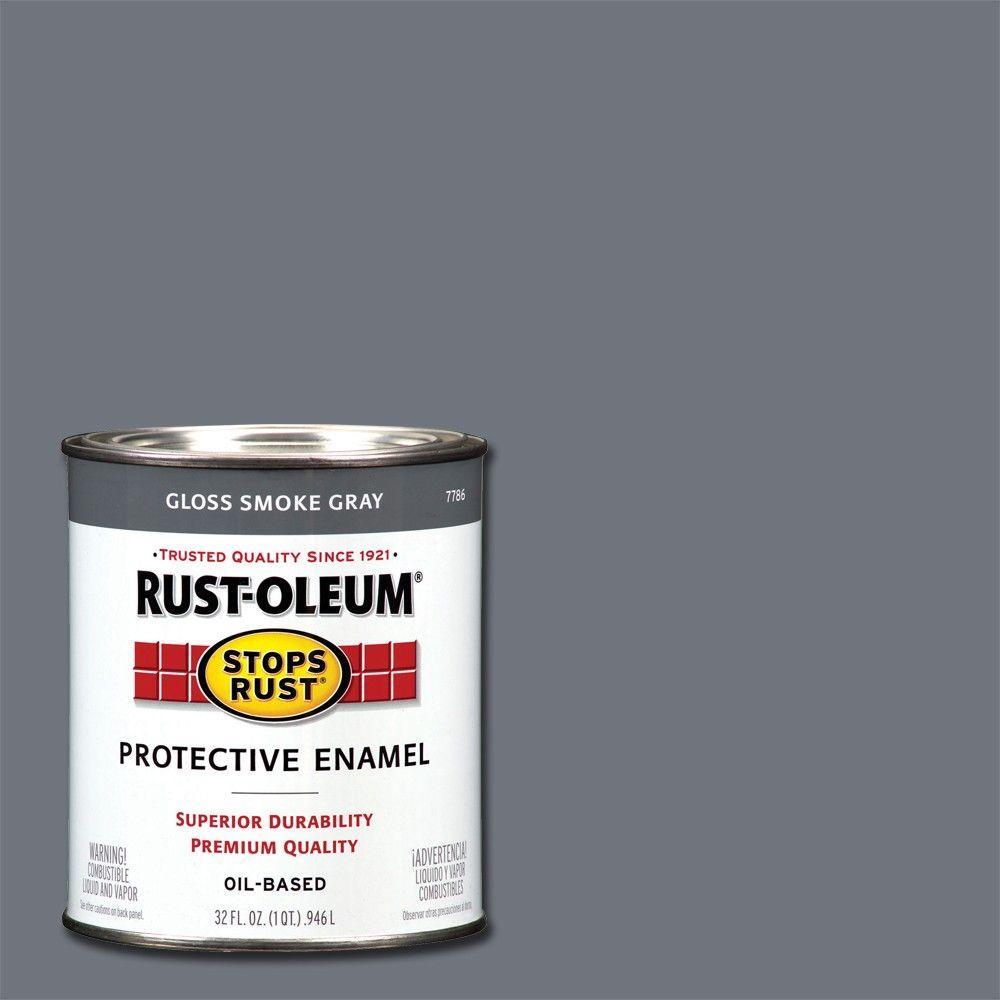 Rust-Oleum Stops Rust 1 qt. Protective Enamel Gloss Smoke Gray Interior/Exterior Paint