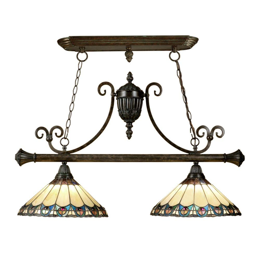 Dale Tiffany 2-Light Peacock Island Fixture-DISCONTINUED