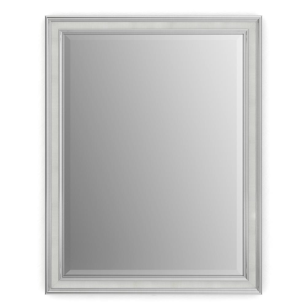 Delta 23 in. x 33 in. (S2) Rectangular Framed Mirror with Deluxe Glass and Flush Mount Hardware in Chrome and Linen