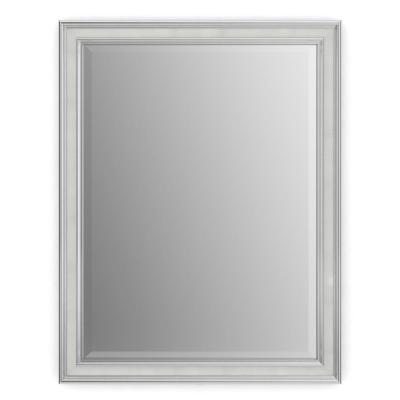 23 in. W x 33 in. H (S2) Framed Rectangular Deluxe Glass Bathroom Vanity Mirror in Chrome and Linen