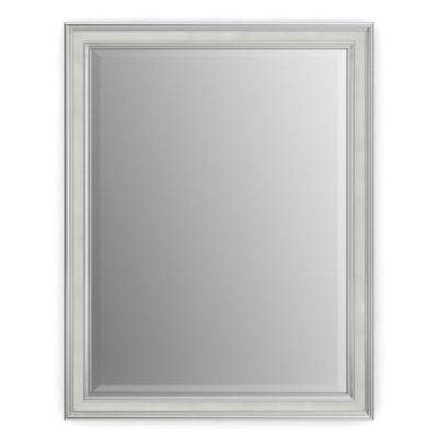 23 in. x 33 in. (S2) Rectangular Framed Mirror with Deluxe Glass and Flush Mount Hardware in Chrome and Linen