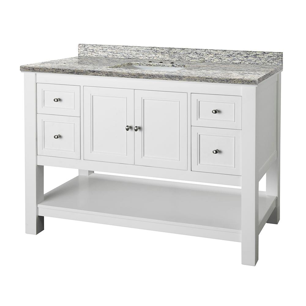 Home Decorators Collection Gazette 49 in. W x 22 in. D Vanity in White and Granite Vanity Top in Santa Cecilia with White Sink