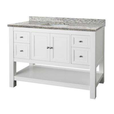 Gazette 49 in. W x 22 in. D Vanity in White and Granite Vanity Top in Santa Cecilia with White Sink