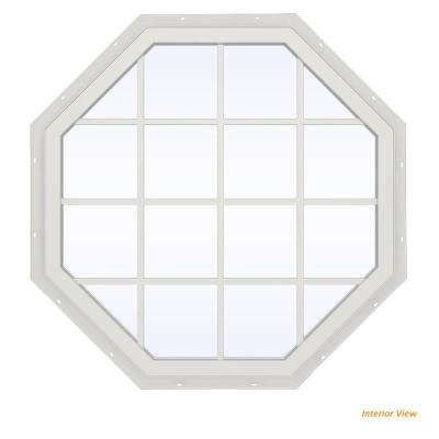 47.5 in. x 47.5 in. V-4500 Series Red Painted Vinyl Fixed Octagon Geometric Window with Colonial Grids/Grilles