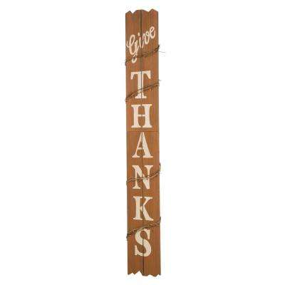51.57 in. H Wooden Give Thanks Porch Sign (KD)