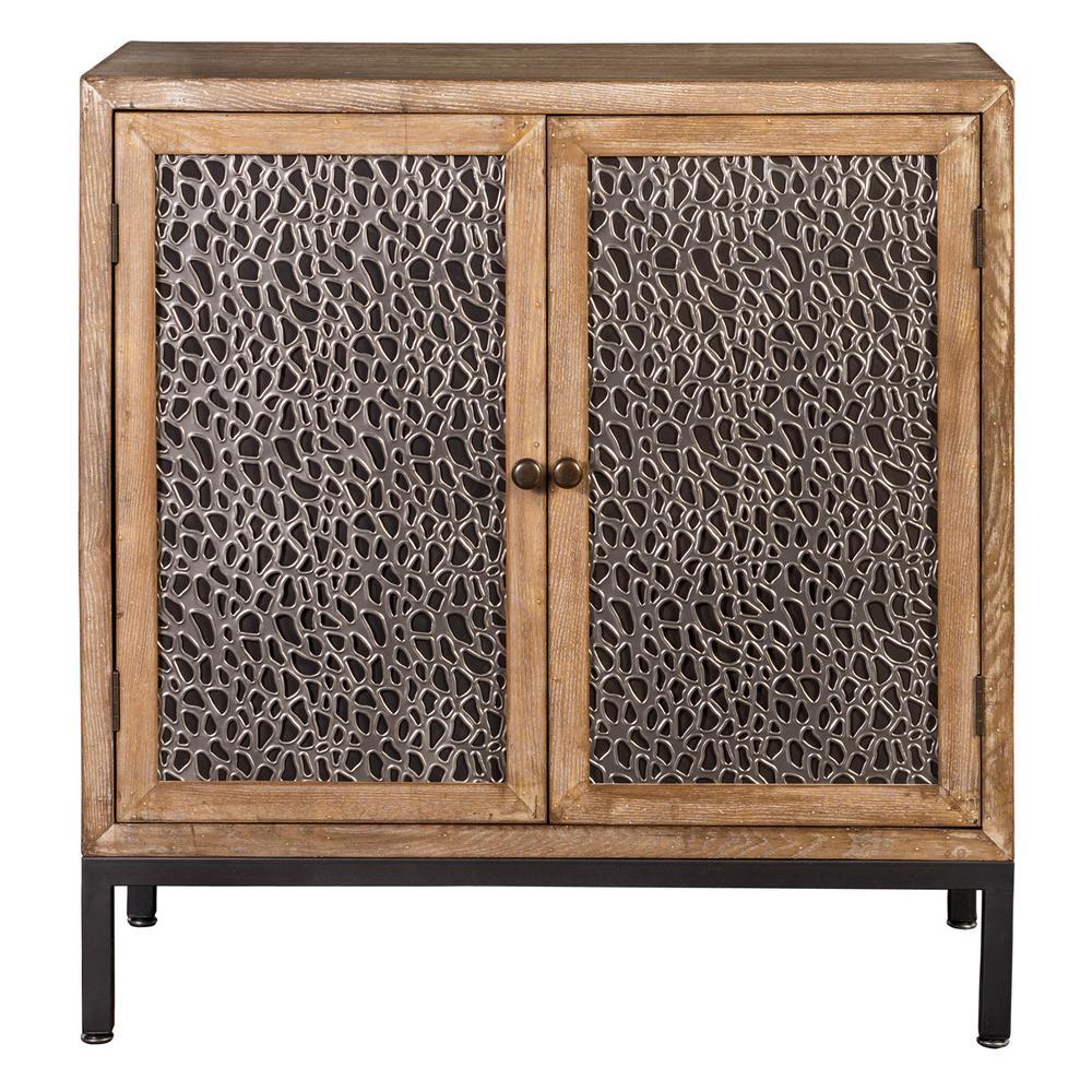 Home Source Carlene white metal and matt black Cabinet Wooden 2 Door  wash