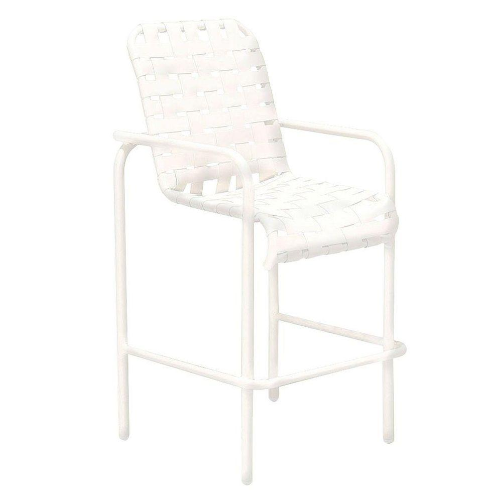 Tradewinds Lido Crossweave White Commercial Patio Bar Stool
