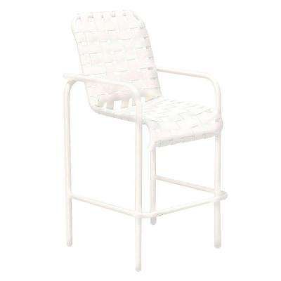 Lido Crossweave White Commercial Patio Bar Stool