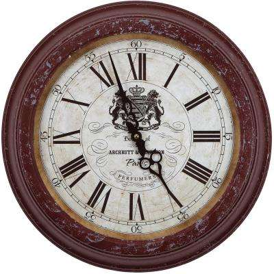 16 in. Circular Iron Wall Clock in Distressed Red Frame