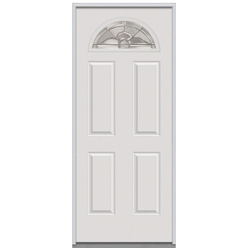 Milliken Millwork 32 in. x 80 in. Master Nouveau Decorative Glass 1/4 Arch Lite 4-Panel Primed White Steel Replacement Prehung Front Door