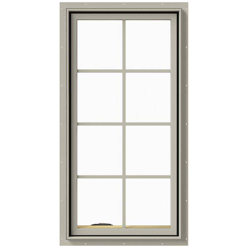 JELD-WEN 24 in. x 48 in. W-2500 Series Desert Sand Painted Clad Wood Left-Handed Casement Window with Colonial Grids/Grilles