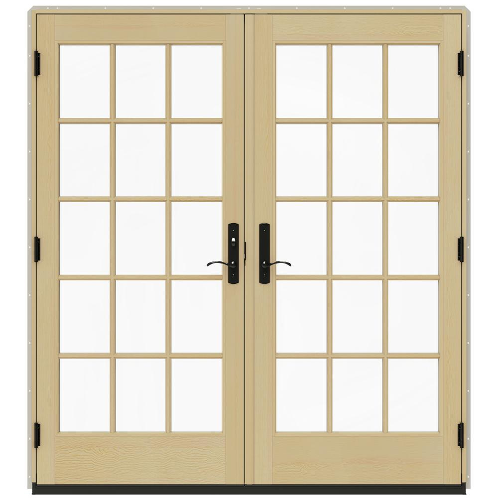 Jeld wen 72 in x 80 in w 4500 desert sand prehung right for French doors exterior inswing