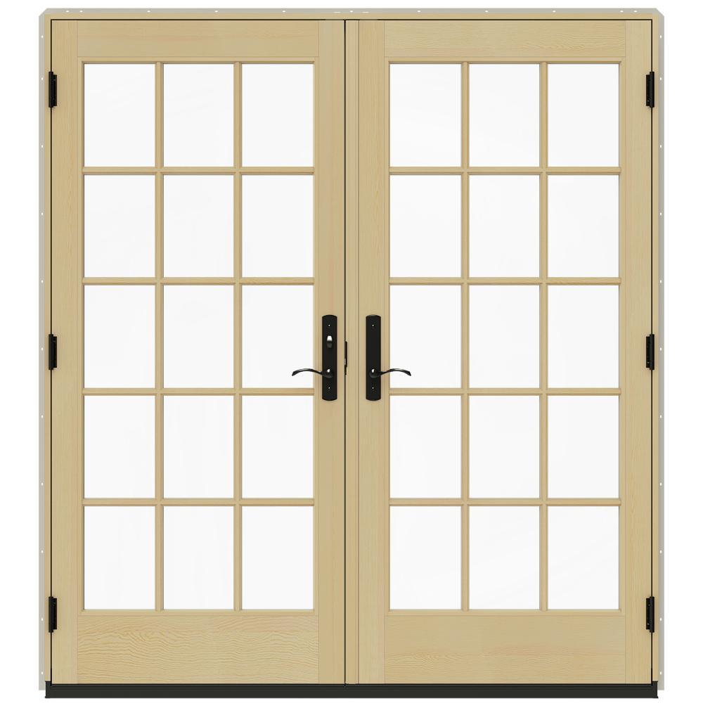 Jeld wen 72 in x 80 in w 4500 desert sand prehung right for Prehung patio doors