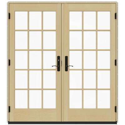 72 in. x 80 in. W-4500 Contemporary Desert Sand Clad Wood Right-Hand 15 Lite French Patio Door w/Lacquered Interior