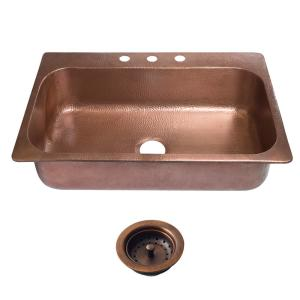 SINKOLOGY Angelico Drop-In Copper Sink 33 inch 3-Hole Single Bowl Kitchen Sink in Antique Copper and Strainer Drain by SINKOLOGY