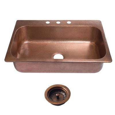 Angelico Drop-In Copper Sink 33 in. 3-Hole Single Bowl Kitchen Sink in Antique Copper and Strainer Drain