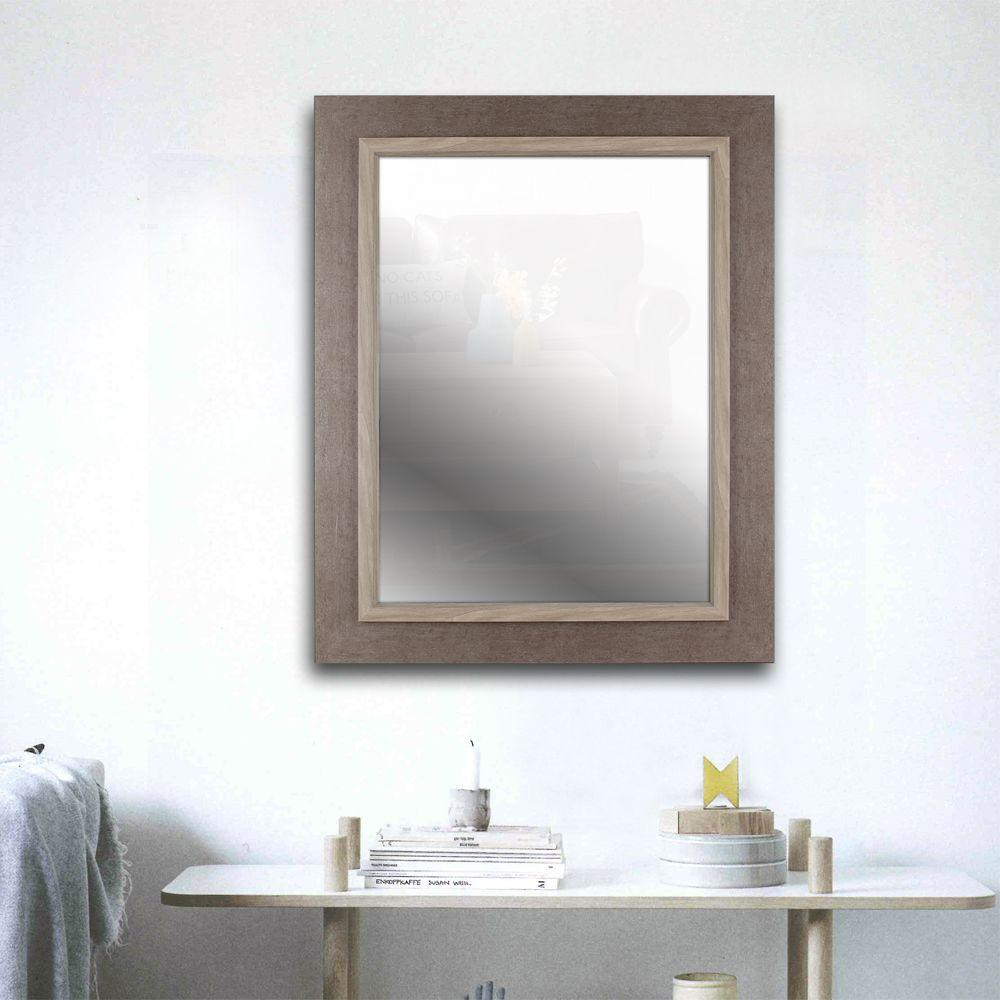 35.25 in. H x 27.25 in. W Grey Wash Frame with Liner Beveled Mirror ...