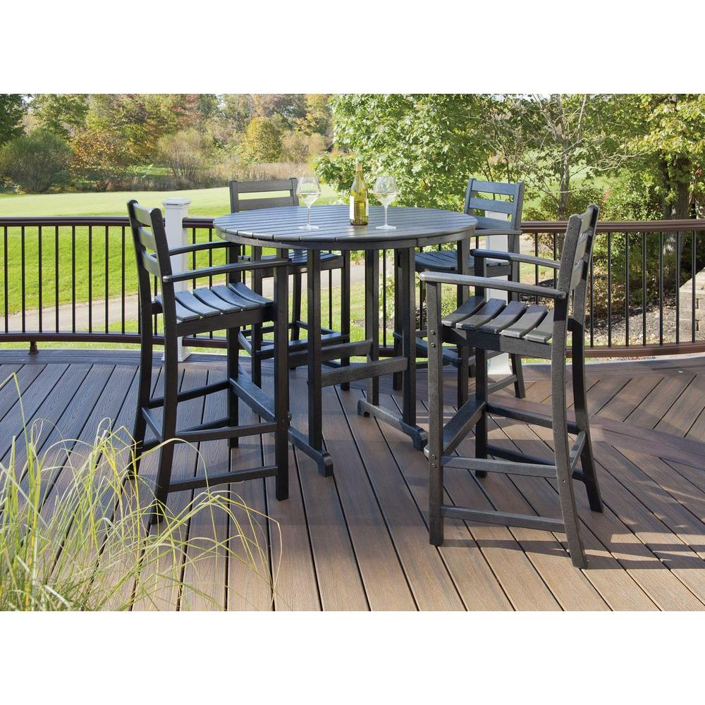 Monterey Bay Charcoal Black 5-Piece Patio Bar Set