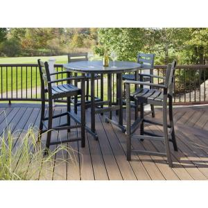 Trex Outdoor Furniture Monterey Bay Charcoal Black 5 Piece Patio Bar Set Txs119 1 Cb The Home