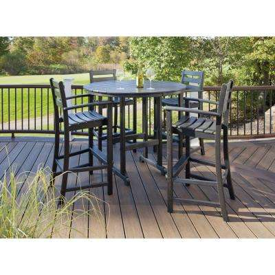 Monterey Bay Charcoal Black 5-Piece Plastic Outdoor Patio Bar Height Dining Set