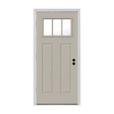 34 in. x 80 in. 3 Lite Craftsman Desert Sand Painted Steel Prehung Right-Hand Outswing Front Door w/Brickmould